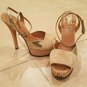 Fendi Fendista tan suede/leather logo sandals